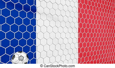 Ball and France flag - Ball in the net Soccer gate on the...