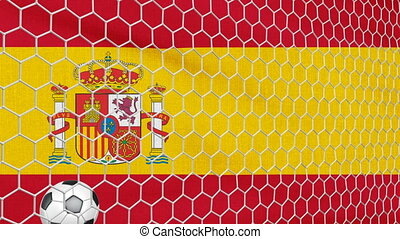 Ball and Spain flag - Ball in the net Soccer gate on the...