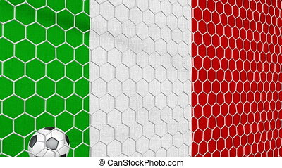 Ball and Italy flag - Ball in the net Soccer gate on the...