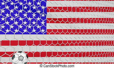 Ball and USA flag - Ball in the net Soccer gate on the...