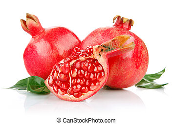 pomegranate fresh fruits with cut and green leaves isolated...