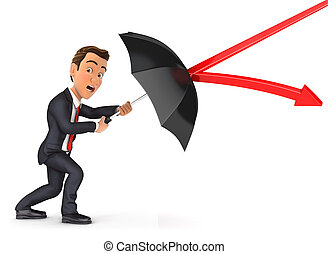 3d businessman stopping arrow with umbrella, illustration...