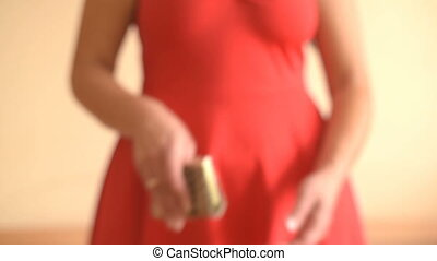 Empty purse in women's hands - Female hands holding empty...