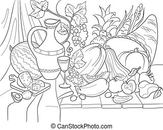 Vegetables and fruits harvest style vector illustration....