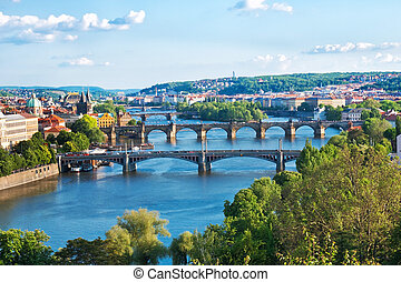 Prague Bridges in the Summer. Czech Republic.