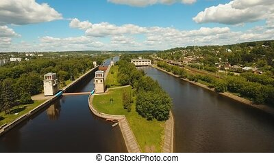 Gateway on the river. Sluice Gates. - Sluice Gates on the...