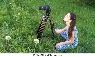 Photographer Woman Happy For Shooting With Dslr -...