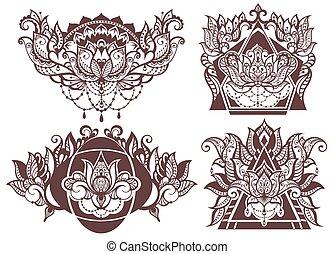 Set of boho lotus