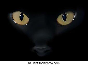 Black Cat Eyes - Animal Background Illustration, Detailed...