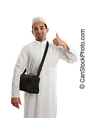 Ethnic man thumbs up approval - Happy ethnic arab man...