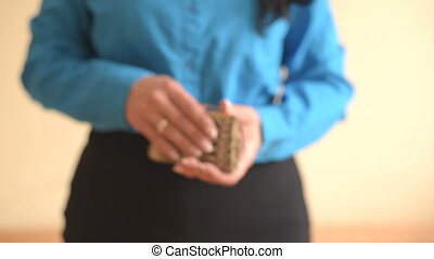 Female Showing Empty Wallet - Female hands holding empty...