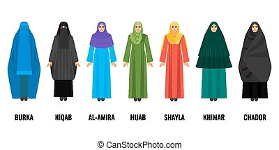 Traditional Arabic women clothing isolated cartoon...