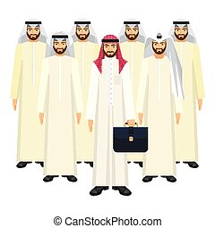 Group of Arabian business people in good mood on white -...
