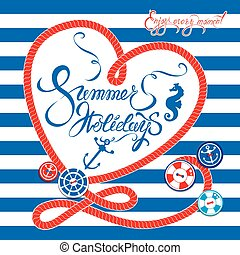 Seasonal Card with frame in heart shape on paint stripe blue and