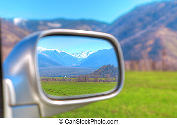 rural landscape - beautiful rural landscape in the rear-view...