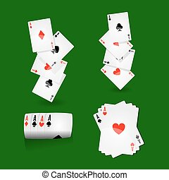 Play cards combinations with aces on green field vector...
