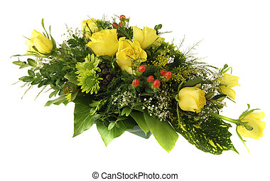 Flower bouquet - Beautiful bouquet of yellow roses and other...