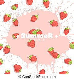Ripe Strawberries - Berry mix on a bright background