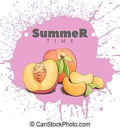Juicy peach on a bright background - Summer peaches on a...