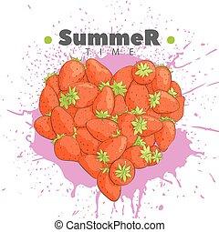 Heart of fresh strawberries - Heart made of strawberries on...