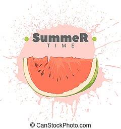 Juicy watermelon on a light background - Slice of ripe...