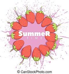 Beautiful strawberry on a light background - Beautiful...