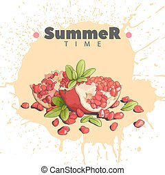 Delicious Pomegranate on a light background - Pomegranate on...