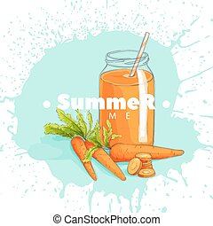 Carrot juice in a jar on a white background
