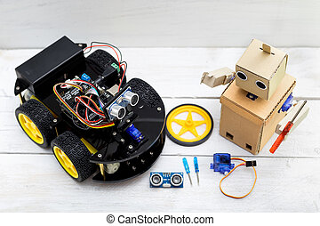 two robots standing next to each other. The interaction between robots