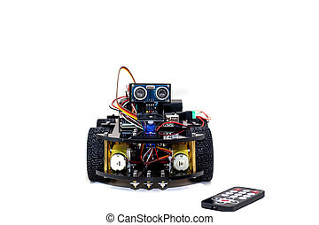 robot with four wheels on a white background