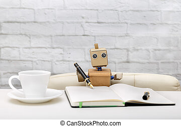 robot is sitting at the table, working place: diary, pens, cups