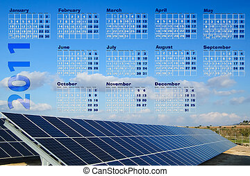 2011 Calendar renewable energy with solar panel