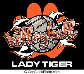 lady tiger volleyball team design with ball ripping through...