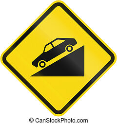 Steep descent warning road sign in Brazil.
