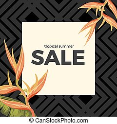 Tropical summer sale with Heliconia Sunset Orange flowers -...