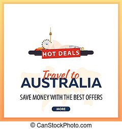 Travel to Australia. Travel Template Banners for Social Media. Hot Deals. Best Offers.