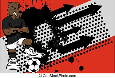 strong sporty bear soccer player cartoon background in...
