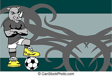 strong sporty rhino soccer player cartoon background in...
