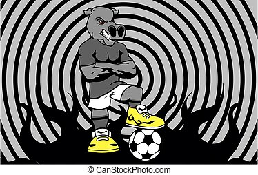 strong sporty hippo soccer player cartoon background in...