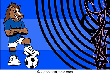 strong sporty horse soccer player cartoon background in...