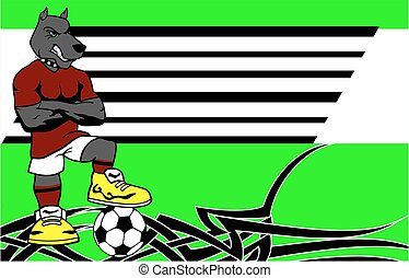 strong sporty dog soccer player cartoon background in vector...