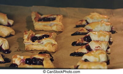 Bagels with Cherries Baked in Oven - Croissants and bagels...