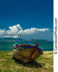 Fishing Boat Nha Trang Bay Vietnam - Looking out over the...