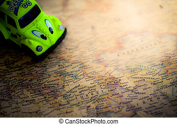 travel plans on a map background
