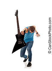 rock star holding an electric guitar in his fron, over white