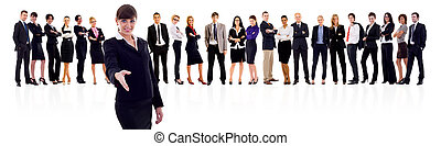 seal the deal - Leader and her team, businesswoman ready to...