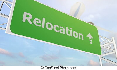 relocation road sign - relocation airport sign with airplane...