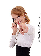 woman on mobile phone pointing to you