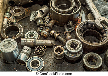 Old nuts and bolts background - Old nuts, bolts, screws and...
