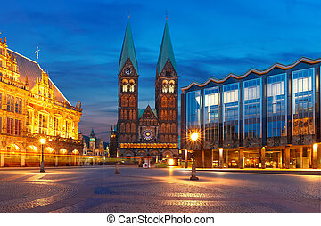 Ancient Bremen Market Square in Bremen, Germany - Ancient...